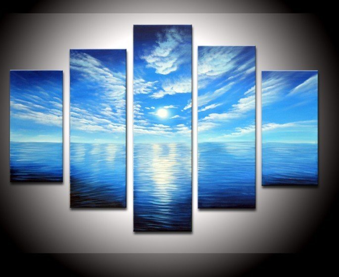 buy hand painted artwork blue ocean white clouds ready to hang wall decor. Black Bedroom Furniture Sets. Home Design Ideas