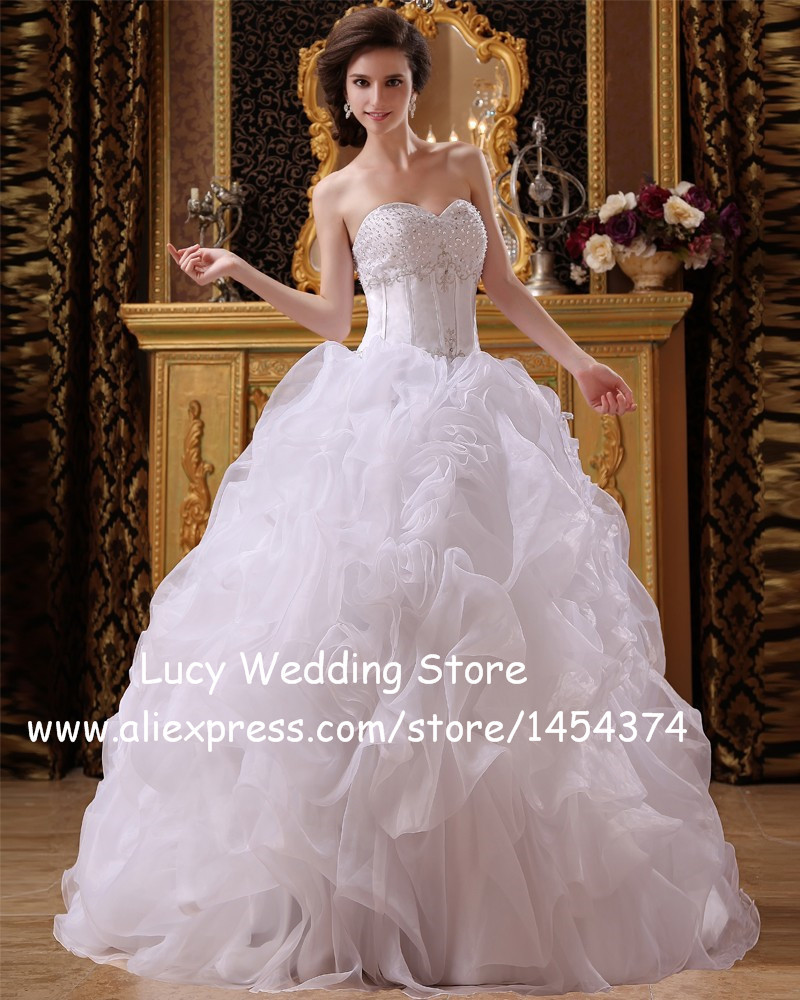 Vintage ball gown organza ruched bridal wedding dresses for Sweetheart corset wedding dress