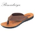 BIMUDUIYU Men Flip Flops Casual Men Shoes Genuine Leather Sandals Summer Fashion Handmade Beach Flip Flops
