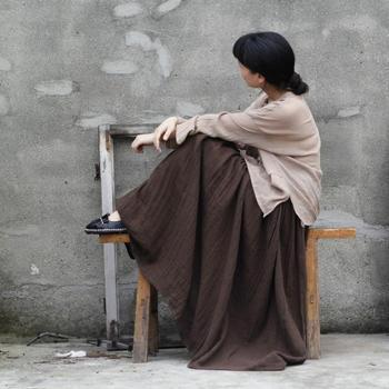 2015 женщин новый оригинальный дизайн хлопок длиной до пола осень плиссе твердые ...