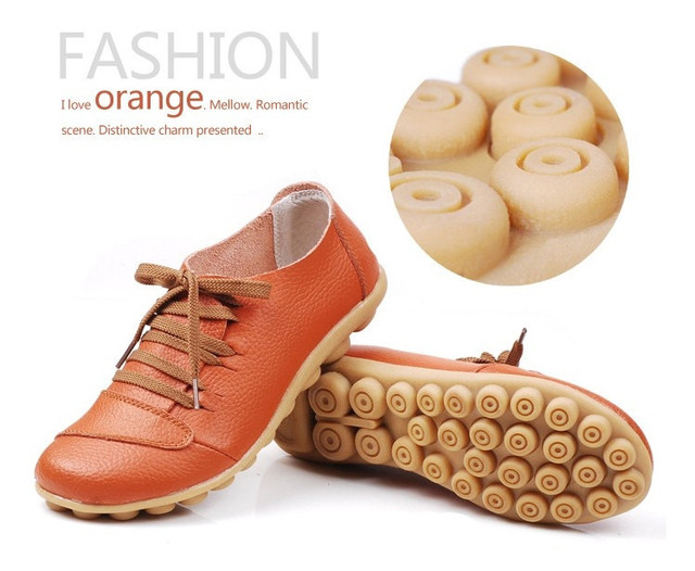 Free Shipping Hot Soft Massage Sole Girl's Casual Shoes Leather Flat Shoes Comfort Footwear 5 colors