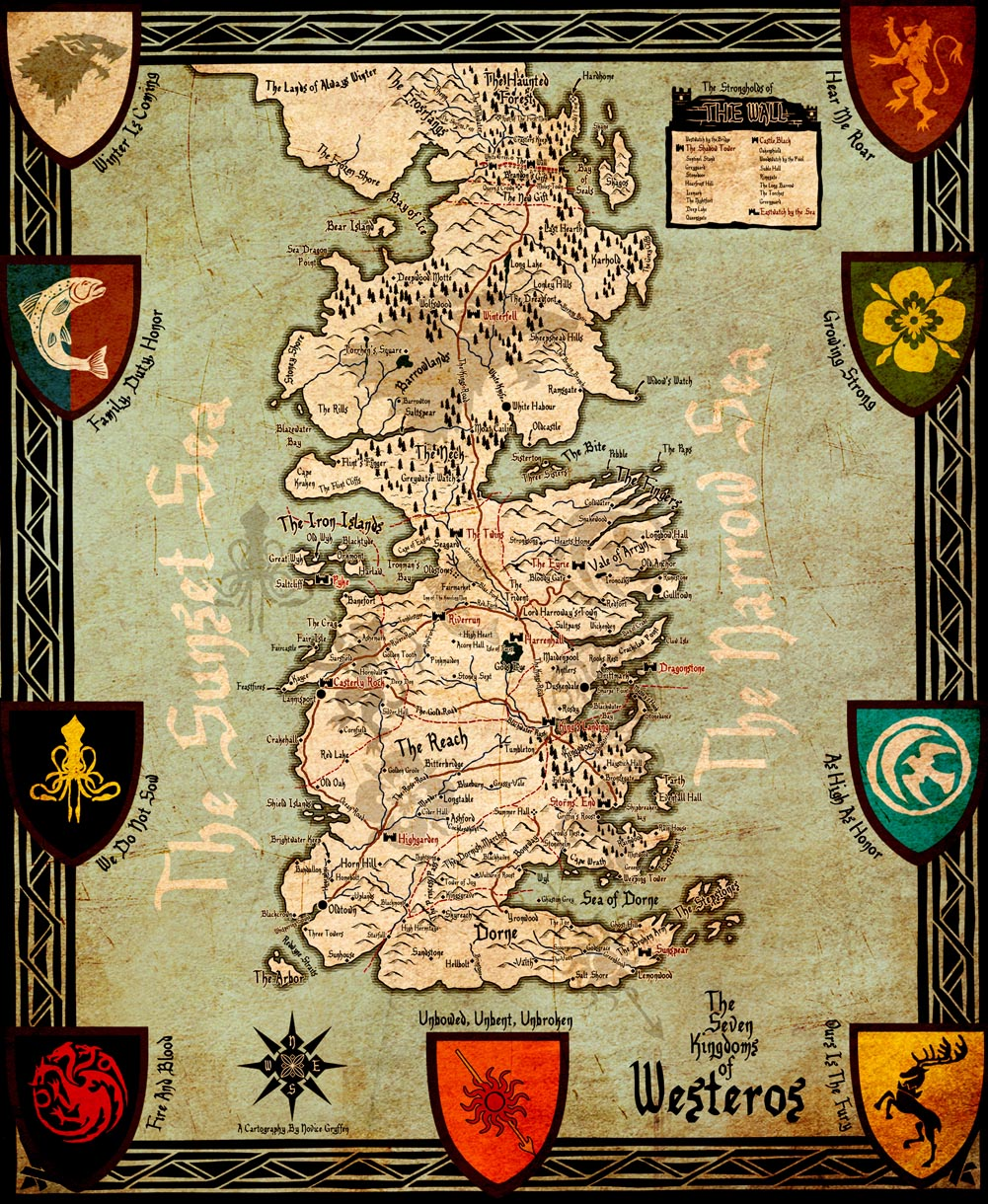 Game of thrones houses map westeros and free cities poster for Decoration murale game of thrones