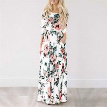 2020 קיץ ארוך שמלה פרחוני הדפסת Boho חוף שמלת טוניקת מקסי שמלת נשים ערב המפלגה שמלה קיצית Vestidos דה festa XXXL(China)