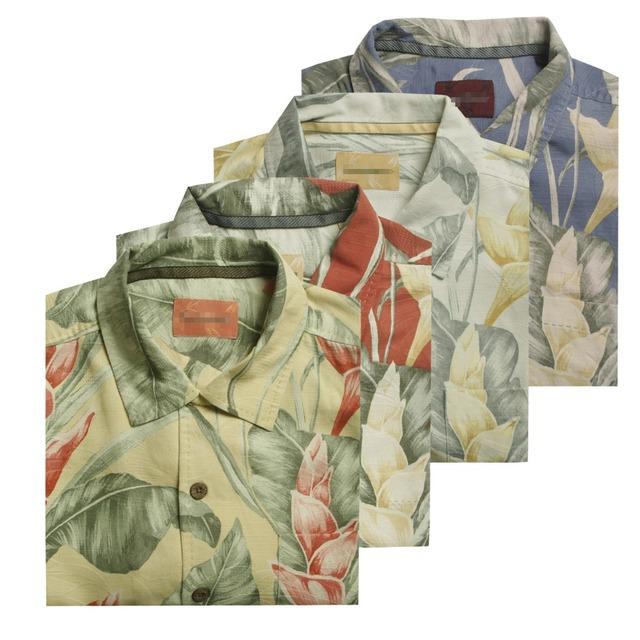 Багама шелка с коротким рукавом гавайский мужская одежда свободного покроя рубашки ...