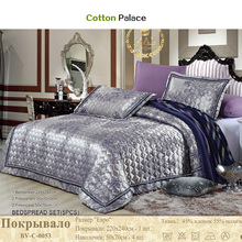 Russian quilted Quilt thick bed Sheet+pillowcases set 5pcs embroidery bedspreads stiching Bedcover shiny jacquard coverlet