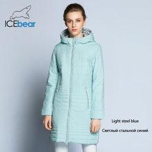 ICEbear 2018 осень женская ветровка с капюшоном Мода Женщины Мягкая куртка до колена 17G292D(China)