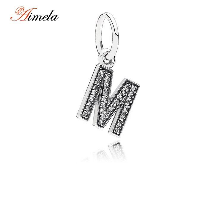 Authentic 925 Sterling Silver Letter M Dangle Charms Pendant For Women Pave Zircon Charms Fits Famous Brand DIY Bracelets LE13M