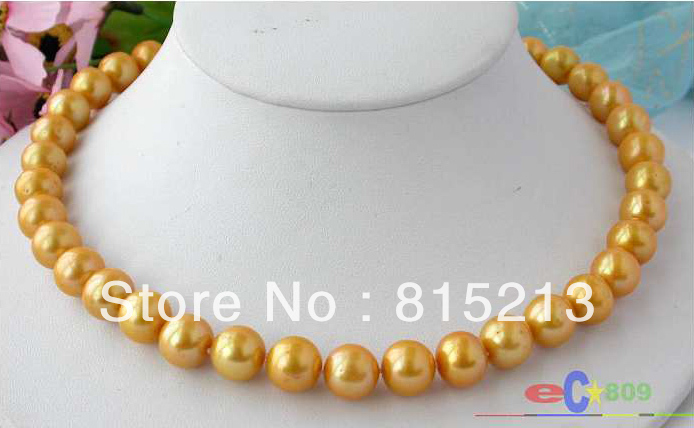 ddh001621 AAA 17 12MM GOLD ROUND FW CULTURED PEARL NECKLACE 28% Discount (A0329)<br><br>Aliexpress