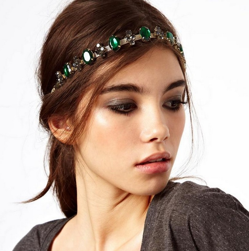 2015 Women Vintage emerald headbands headdress trendy bridal hair accessories head jewelry tiaras headchains CF017(China (Mainland))