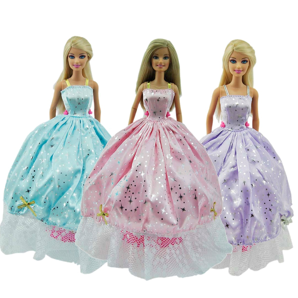 Handmade Little Star Princess Clothes Evening Dress Gown For Barbie Doll Children's Gift(China (Mainland))