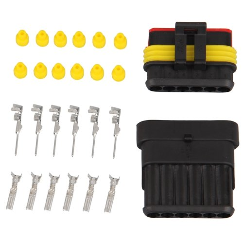 Best&Top Kit 6 Pin Way Waterproof Electrical Wire Connector Plug(China (Mainland))