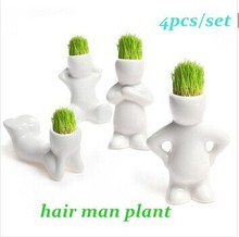 4pcs/set Home Decoration Mini DIY White Man Magic Grass Planting Creative Lovely Gifts Plant Hair Man Office Decoration