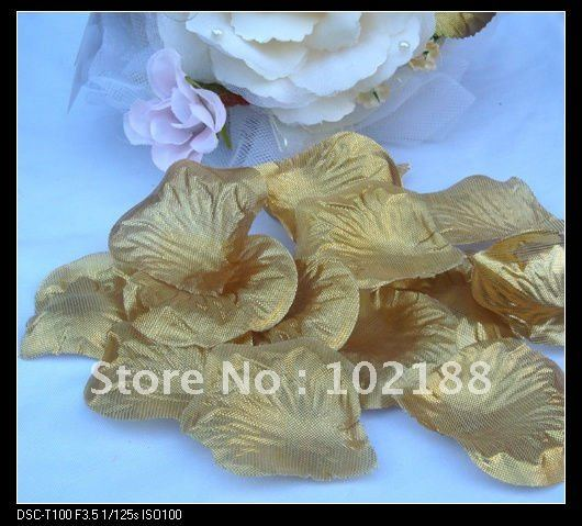 &(1000pcs/bag) Gold Silk Rose Petals Wedding Party Flower Favors - Ningguo Stylish Convertible Gift Packaging Plant store