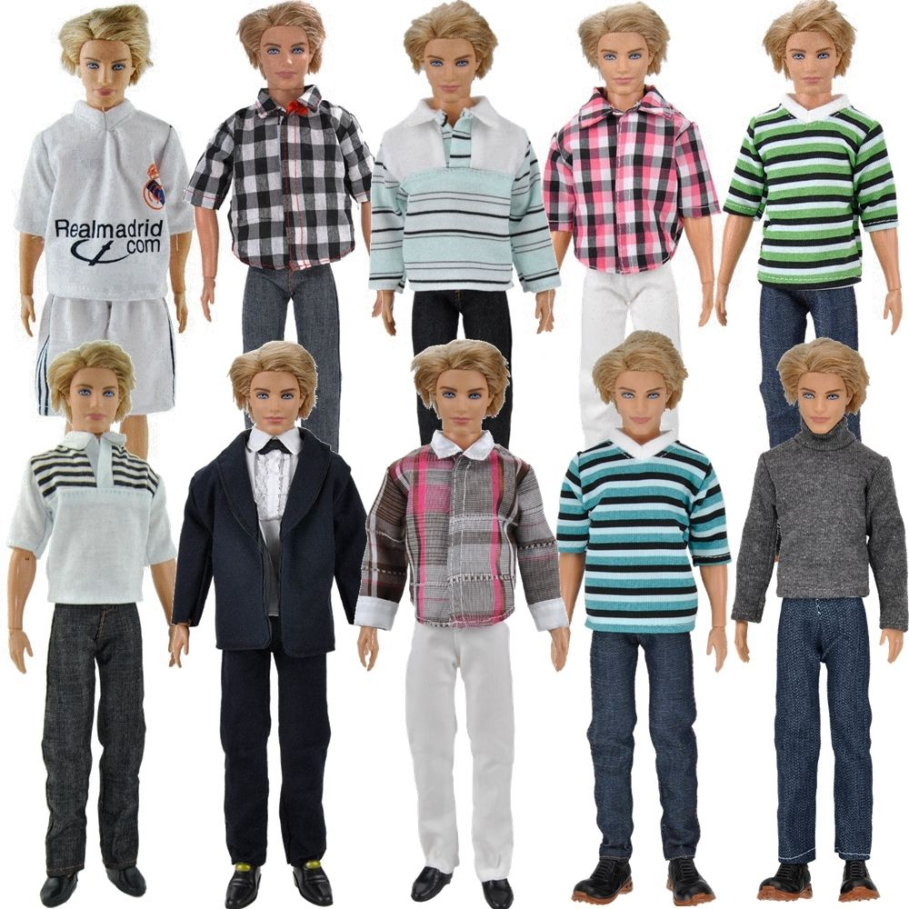 E-TING 3 Sets Casual Wear Plaid Doll Clothes Jacket Pants Trousers For Barbie Ken Doll(China (Mainland))