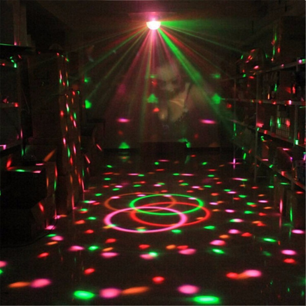 1pcs Mini 3W Music sound activated crystal magic ball RGB stage light KTV magic color pattern ball Bar effect led light with RC