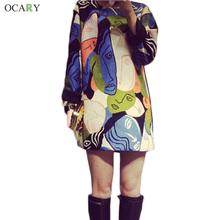 Print Dress Casual Shirt Dress Cotton Linen Dresses Fashion Women Autumn Winter Dress Picasso Painting Plus Size XL Vestidos(China (Mainland))