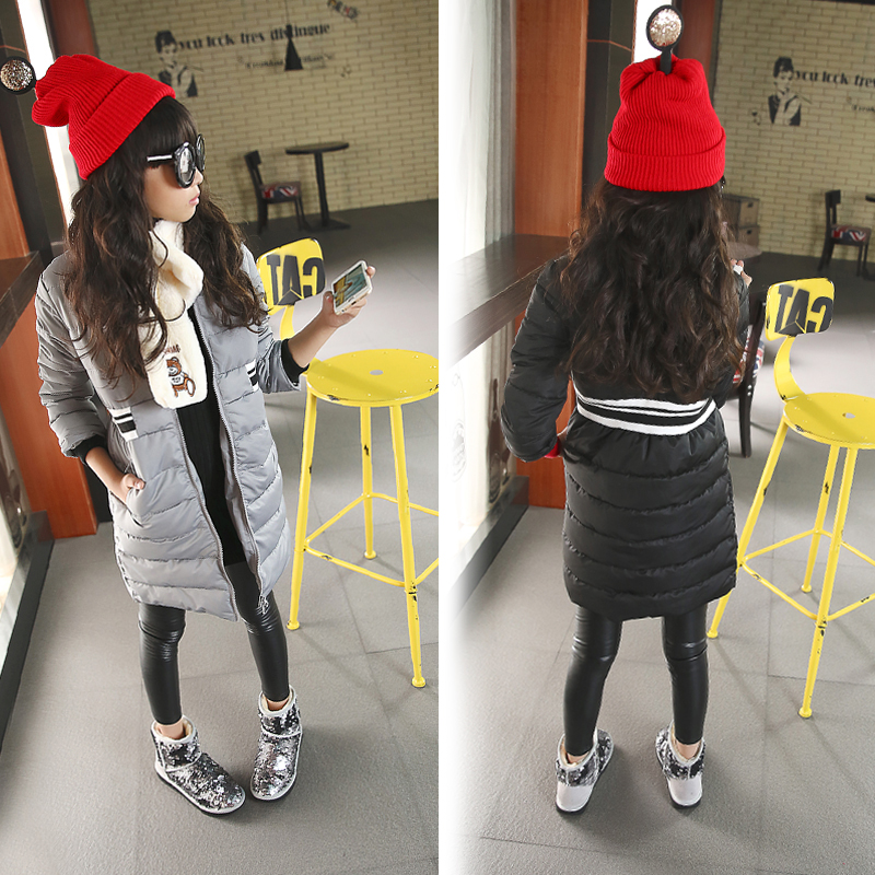 black gray long girls coats warm zipper pockets long sleeve childrens winter jackets for girls outwears parkas kids clothes<br><br>Aliexpress