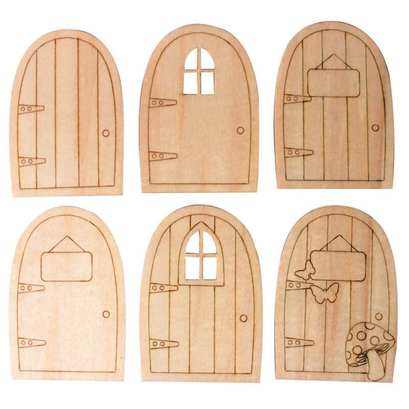 10pcs/Lot DIY Wood Door Laser Cutting Door Crafts Blank Plaque Decoupage Crafts Home ...