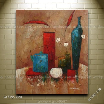 Contemporary Oil Painting Of Still Life Flowers Vase Containers Portrait Famous Realistic Paintings Wall Frame