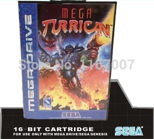 Sega MD games card with Box Mega Turrican For 16 bit Sega MegaDrive Genesis Game Cartridge