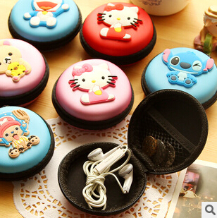 Kawaii Cartoon Candy Color Silicone Coin Purse Key Wallet Earphone Organizer Box FOD(China (Mainland))