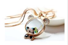Austrian crystal cartoon cute teddy bear necklace Female long necklace jewelry