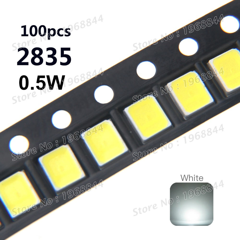 100pcs 2835 SMD Chip White Ultra Bright 0.5W 3V 150mA 50-55LM LED Light Emitting Diode Lamp Surface Mount 0.5 Watt SMT Beads(China (Mainland))