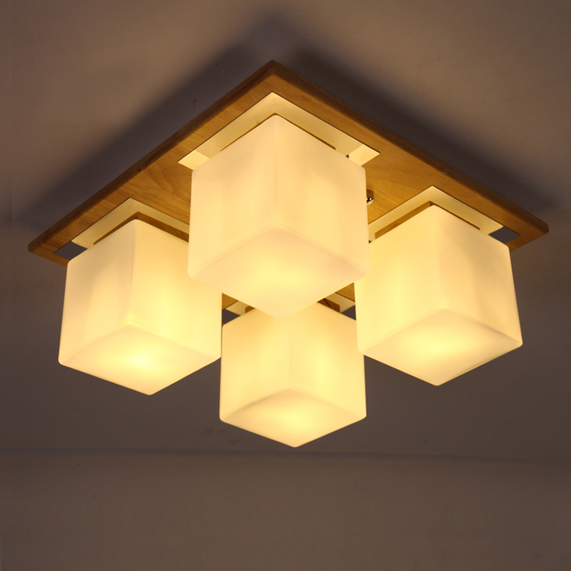 Ceiling Light Japanese: Brief-led-ceiling-light-chinese-style-rustic-solid-wood