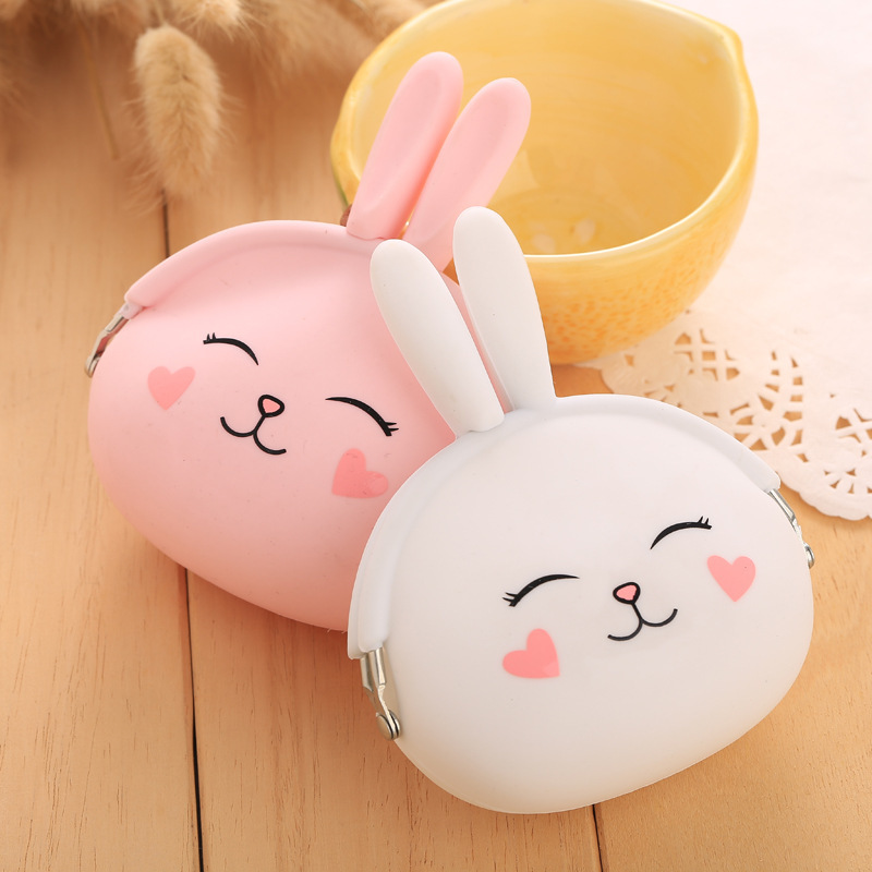 2016 New Fashion Coin Purse Lovely Kawaii Cartoon Rabbit Pouch Women Girls Small Wallet Soft Silicone Coin Bag Kid Gift(China (Mainland))