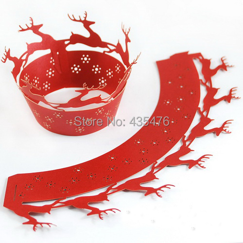 120pcs/lot Christmas Deer Red Pearl Paper Laser Cut Cupcake Wrapper Cake Muffin Decoration Wrap Liners Free Shipping(China (Mainland))