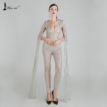 Missord 2016 Сексуальная Глубокий V cut out с длинным рукавом блеск блесток КОМБИНЕЗОНЫ FT4682(China (Mainland))