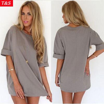 Women Casual Gray Chiffon Blouse 2015 New Summer O Neck Half Sleeve Loose Chiffon Blusas Tops Shirts Women Clothing Plus Size(China (Mainland))
