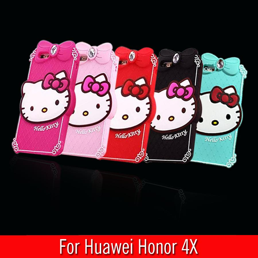 For Huawei Honor 4X Case Diamond Hello Kitty Silicon Design Cell Phone Back Protective Shell Cover For Huawei Honor 4X(China (Mainland))