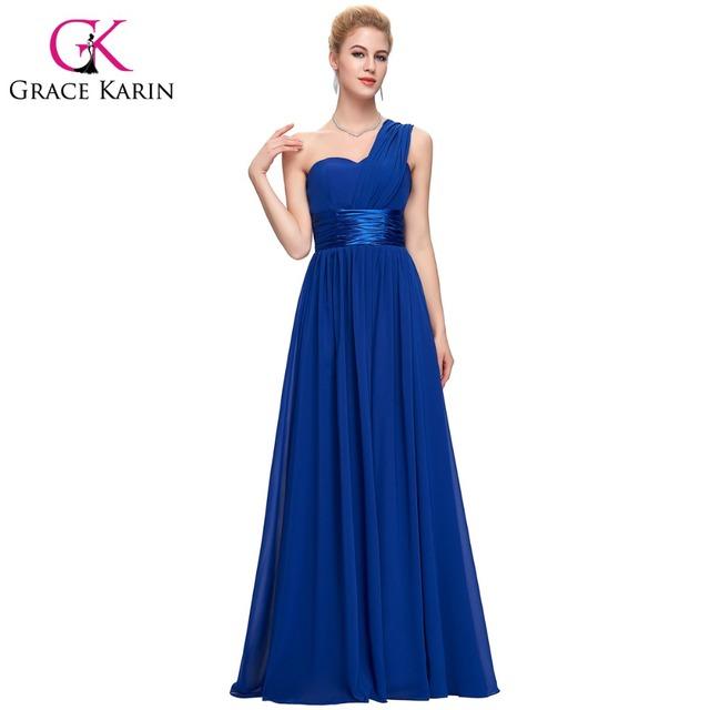 Грейс карин длинные платья выпускного вечера одно плечо королевский синий красный ...