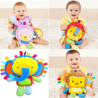 Infant Soft Appease Playmate Calm Doll Baby Toys  With BB Ring  Rattles  Monky, Elephant,Lion,Rabbit