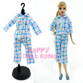 1 Set Long Sleeves Pajamas Sleeping Wear Bedroom Blouse Pants Outfit Night Clothes For Barbie Doll