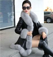 2016 winter women's leather jacket  faux fur pu leather jacket plus 4xl 5xl 6xl leather jacket for women warm leather jacket