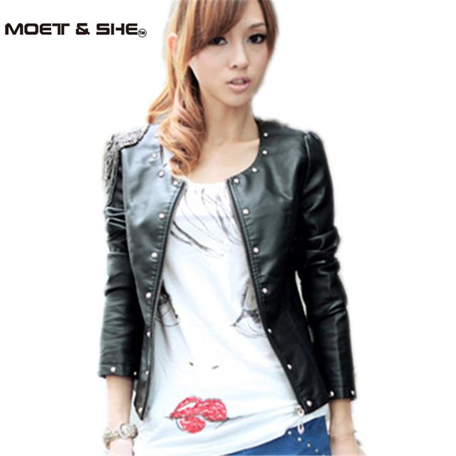 2015 new fashion spring casual leather jacket O-Necks zipper punk rivet autumn winter women motorcycle biker jacket M,L #3215