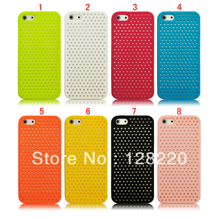 net hole design Case Cover for apple iphone 4 4g 4s 5 5s 5g mobilephone Shell TPU Skin FreeShipping/DropShipping(China (Mainland))