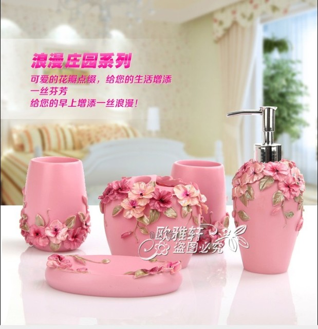 Free shipping lotion dispenser,soap dish,tooth brush holder and tumbler resin Five pieces set  bathroom supplies kit