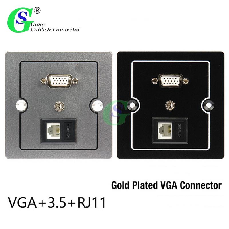 1 PCS RJ11 6P4C 3.5mm and D-Sub HD15 VGA 15PIN Inline Plug Adapter Socket(China (Mainland))