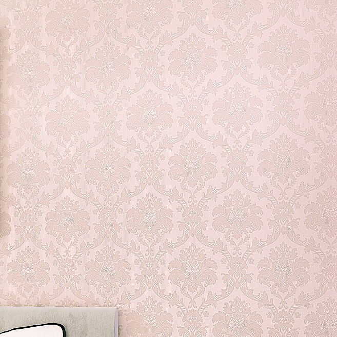 ... damask PVC roll white classic wall paper Floral Embossed Light Pink