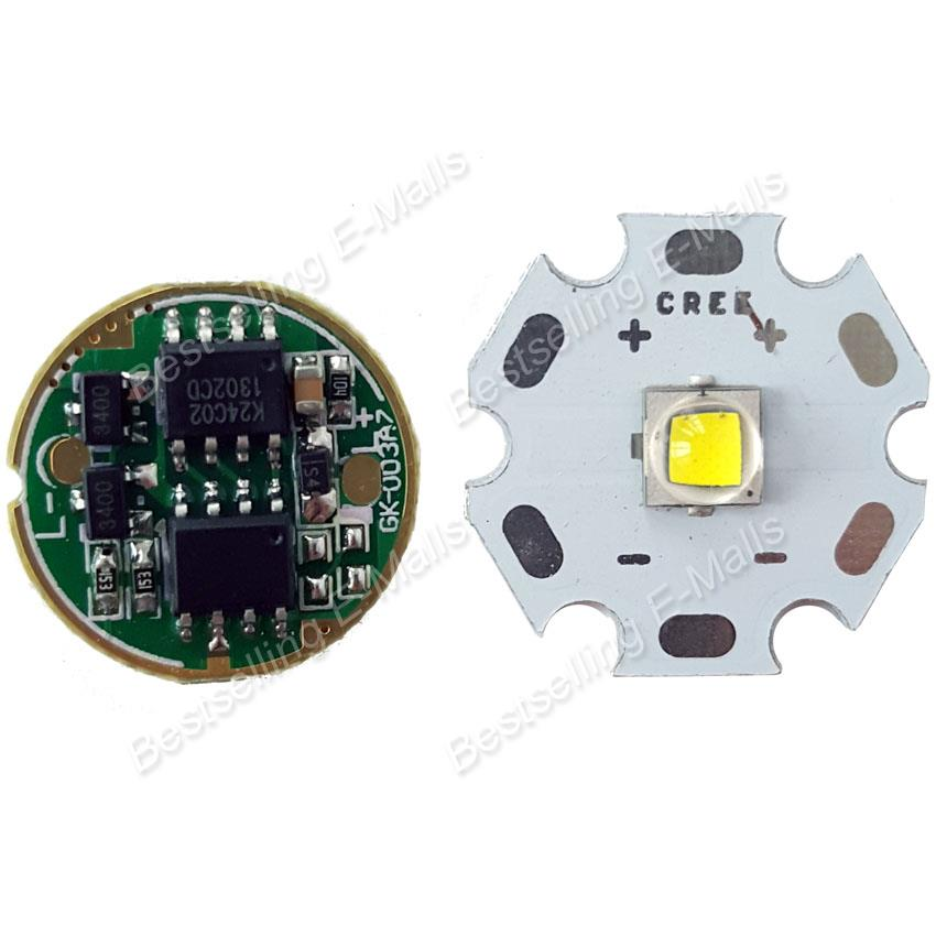 Cree XM-L2 Cool White 10W LED Emitter w/ 20mm board XML2 LED Star + 3.7-4.2V Driver Integrated Circuit Board for LED Flashlight(China (Mainland))