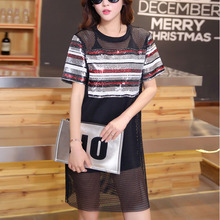 Fashion Beads Embroidered T-shirt Dress Short Sleeve Sequined Women Straight Casual Dress Plue Size Two Piece 2016 Summer Dress