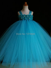 Elegant girls sky blue fairy tutu dress net veil tulle blue crochet bodice blue flowers dress for wedding/photo/birthday/party