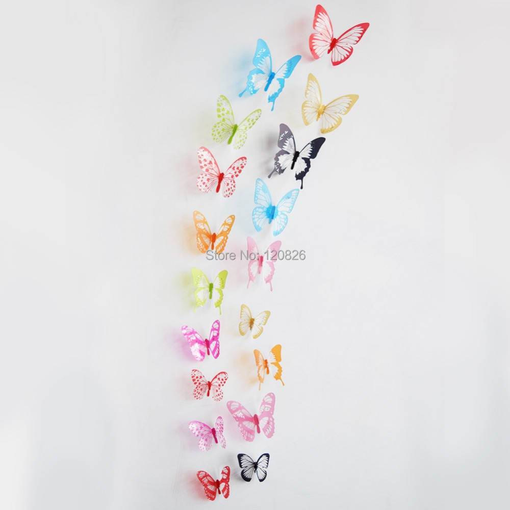 1Creative Colorful 3D Butterfly Wall Stickers Removable Home Decors Art DIY Plastic Decorations frozen wall sticker 4color - Lovely Home-Lise store