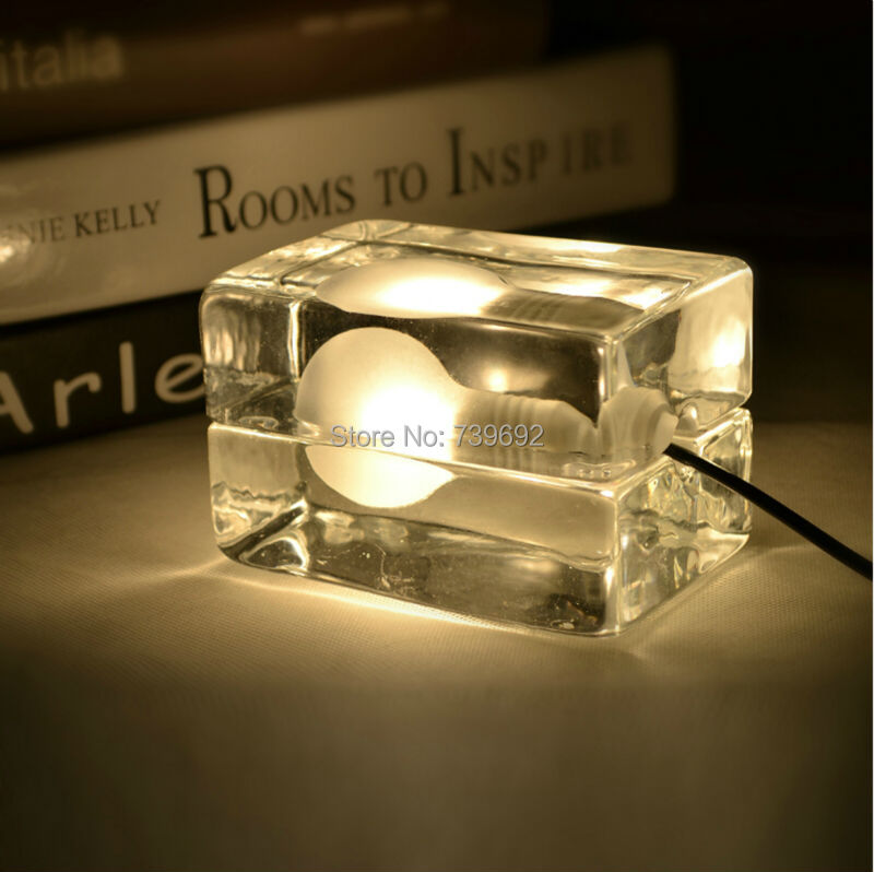 Series design house block ice cubes lamp table lamp,Nordic American fashion creative bedside lamp bedroom ice lamp(China (Mainland))