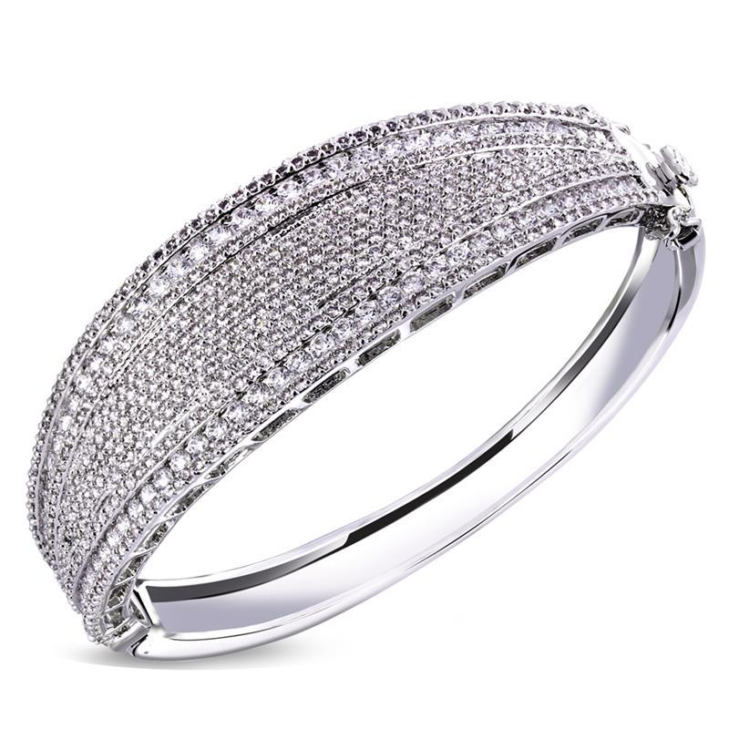 Arrivals Women Luxury Bangles AAA Cubic Zircon Bridal Wedding Party Jewelry Lead Free Platinum & 18K Real Gold Plated - MC Clutches Accessories store