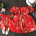 2016 New Summer Style Family look Matching Outfits mother daughter dresses Beach red dress