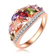 Fashionable Multi Color Finger Rings Genuine SWA Elements Austrian Crystal  18K Rose Gold Plate Rings for Women Ri-HQ0401-A(China (Mainland))